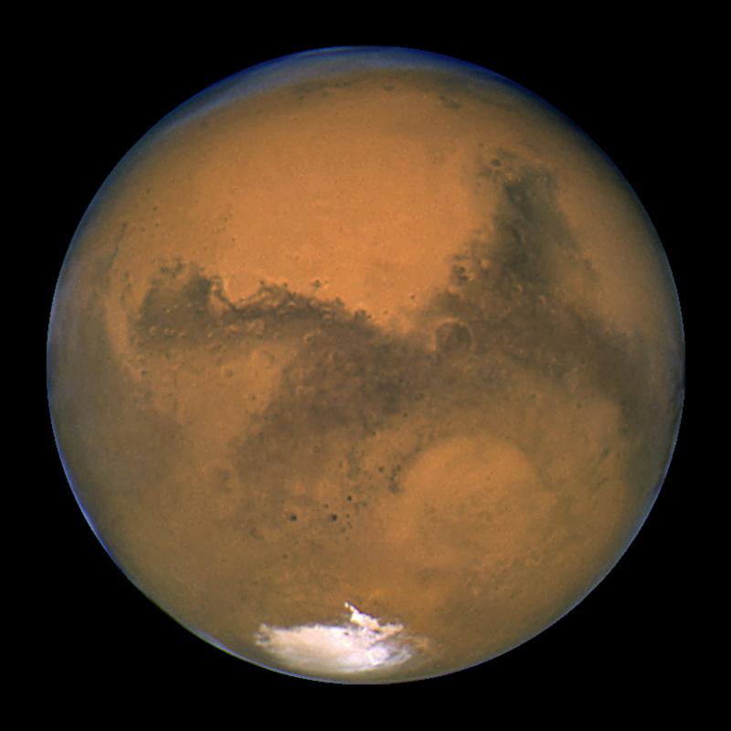 تلسکوپ فضایی هابل ناسا این عکس از مریخ را در روز 26 اوت 2003، زمانی که سیاره سرخ تنها 34.7 میلیون مایل از زمین فاصله داشت، به ثبت رساند.