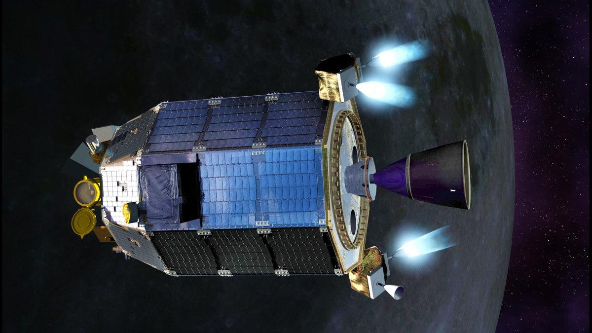 تصویری هنری از کاوشگر گرد و غبار محیطی و جو ماه (LADEE) ناسا