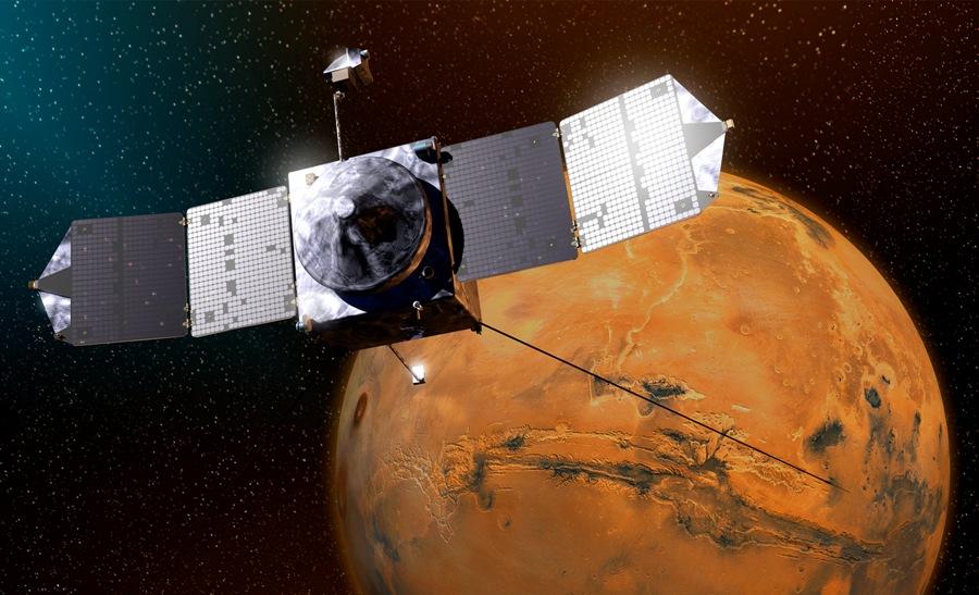 تصویری هنری از قرارگیری کاوشگر اکتشافی ماون (MAVEN) ناسا در مدار مریخ