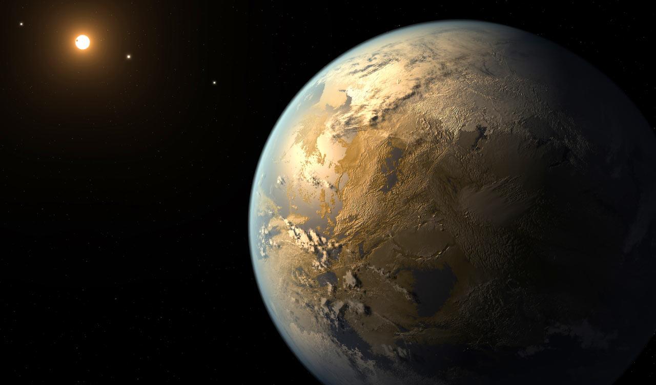تصویری هنری از سیارۀ زمینمانند Kepler 186f که در ناحیهی سکونتپذیر ستارۀ خود قرار گرفته است