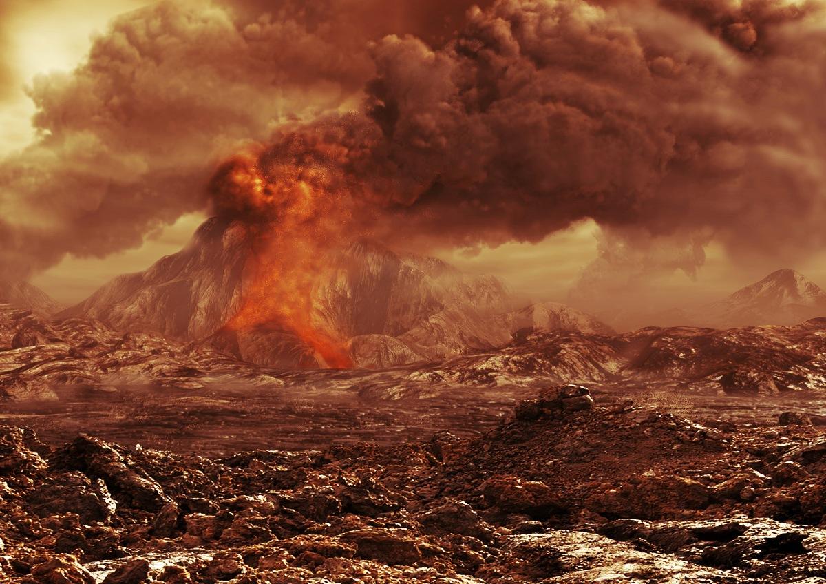 تصویری هنری از آتشفشان های فعال ناهید، مطالعات نشان می دهد که در اتمسفر این سیاره دی اکسید گوگرد و گازهای دیگری وجود دارد.