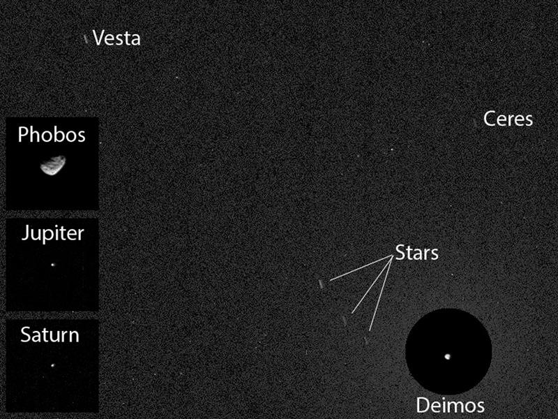 در این عکس که توسط دوربین علمی «Mastcam» گرفته شده، سیارهی کوتولهی سرس در بالا سمت راست ، سیارک وستا در بالا سمت چپ ، دیموس قمر مریخ در پایین سمت راست، در سمت چپ تصویر فوبوس قمر دیگر مریخ و همچنین سیارهی مشتری و سیارهی زحل نیز قابل مشاهده است.