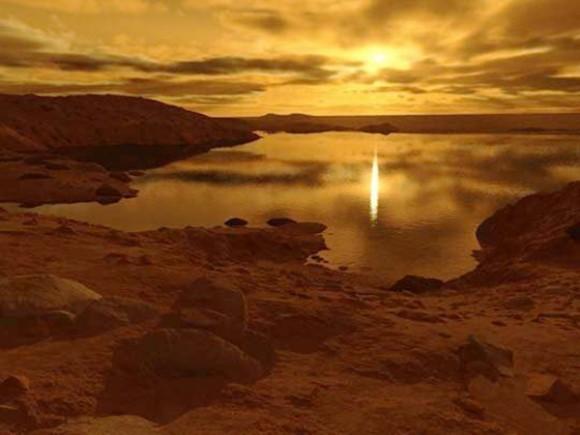 تصویری هنری از غروب خورشید ِ تیتان و انعکاس آن دریاچه متان مایع - اعتبار: ران میلر