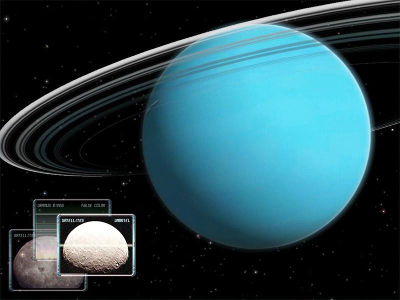 تصویری از سیاره اورانوس به همراه تعدای از اقمارش