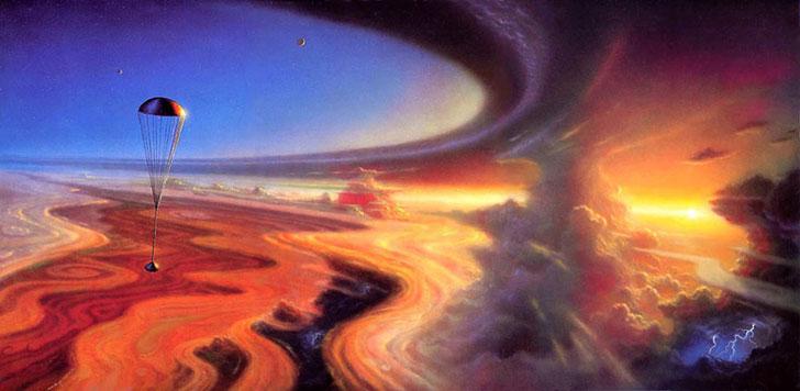 تصویری هنری از شیرجه مرگ بار فضاپیمای گالیله به درون جو توفانی مشتری