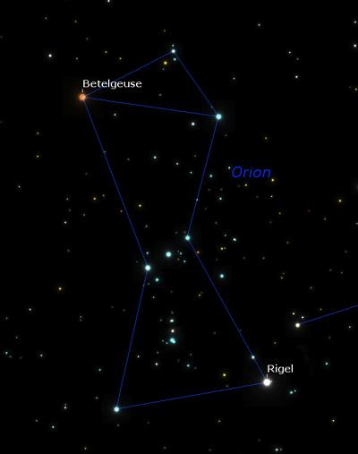 تصویر صورت فلکی جبار و ستاره روشن Betelgeuse