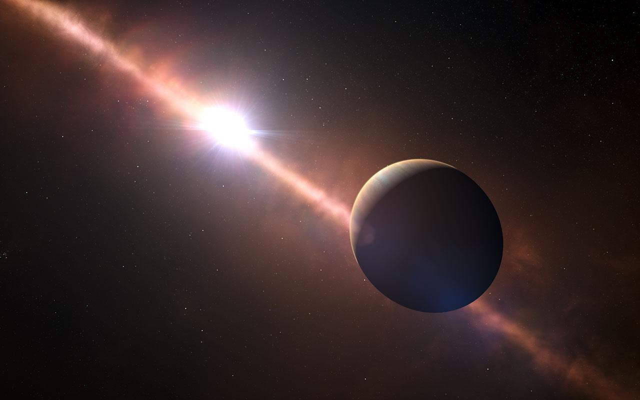 تصویری هنری از سیارۀ Beta Pictoris b اولین سیارۀ فراخورشیدی که طول روزش اندازه گرفته شده است.