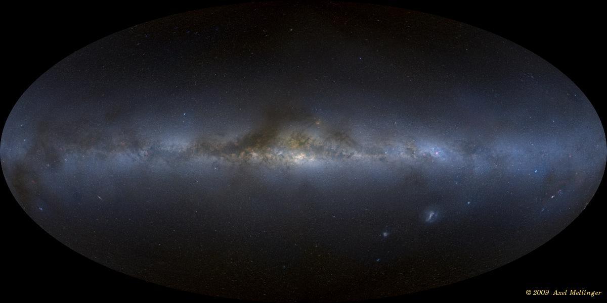 تصویر موزائیکی کهکشان راهشیری از دید ما در روی زمین