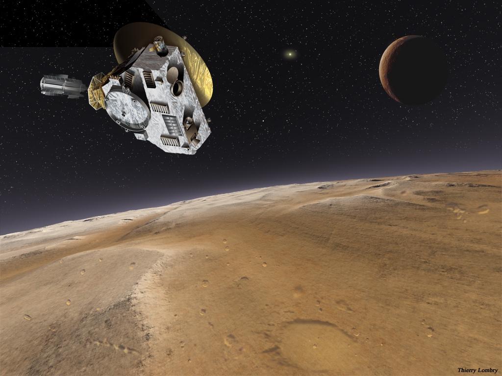 تصویری هنری از دیدار فضاپیمای افق های نو با سیاره کوتوله پلوتو و قمرش شارون.