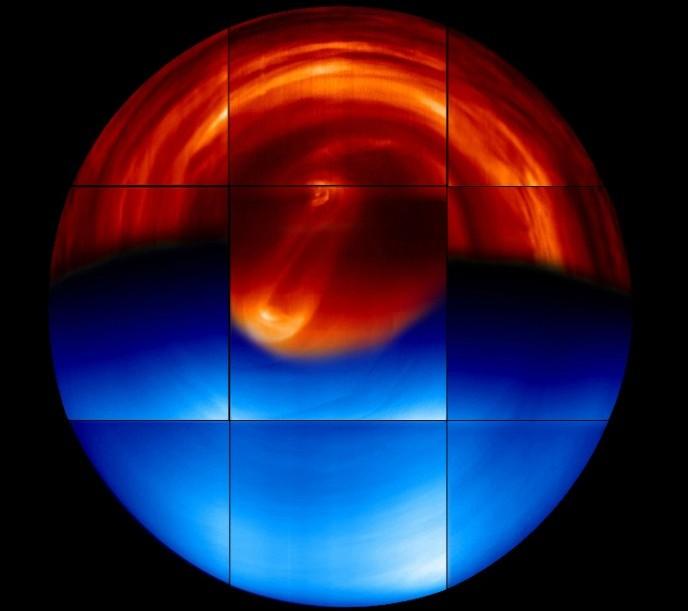 تصویری از نیمکره جنوبی ناهید (عکس از: ESA)