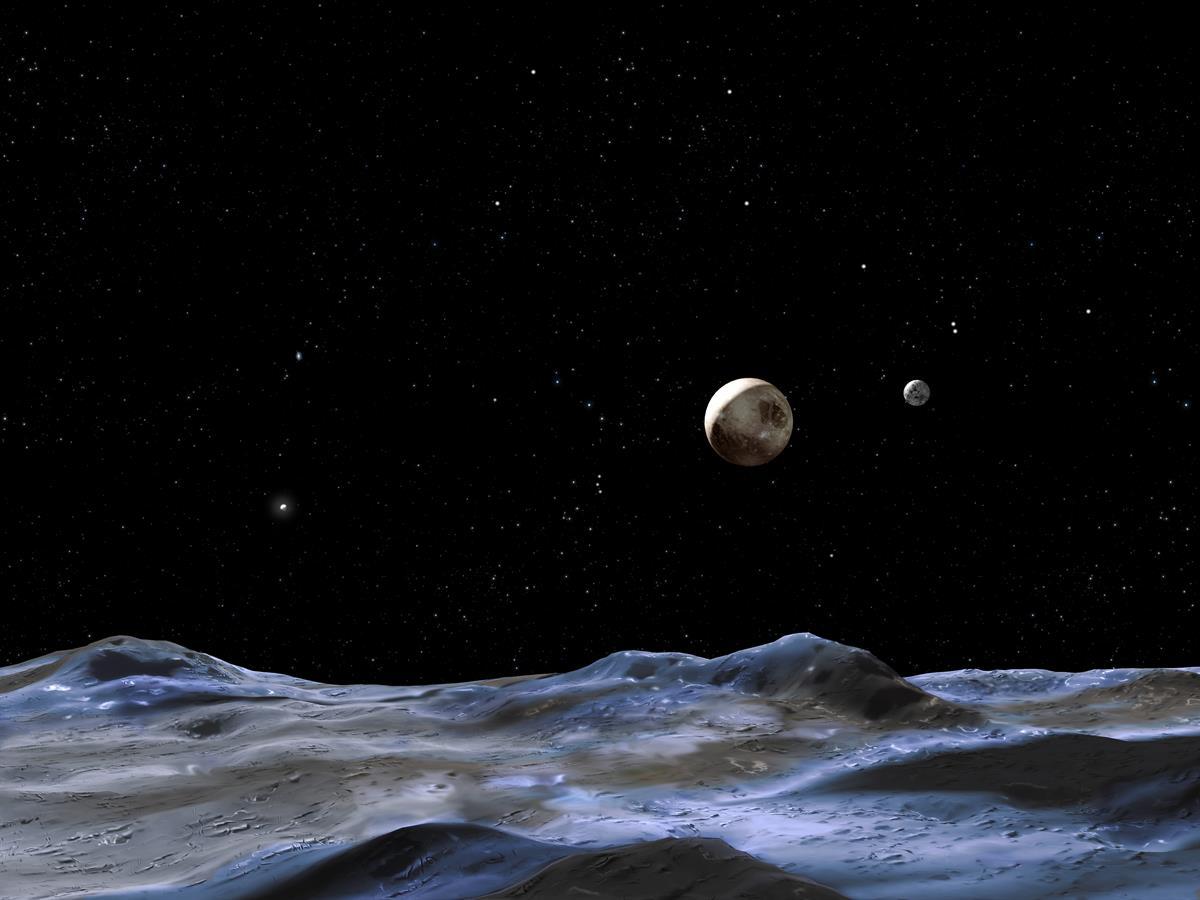 """تصویری هنری از سیارۀ کوتوله پلوتو به همراه قمرش """"شارون""""که از روی یکی از قمرهای پلوتو نشان داده شده"""