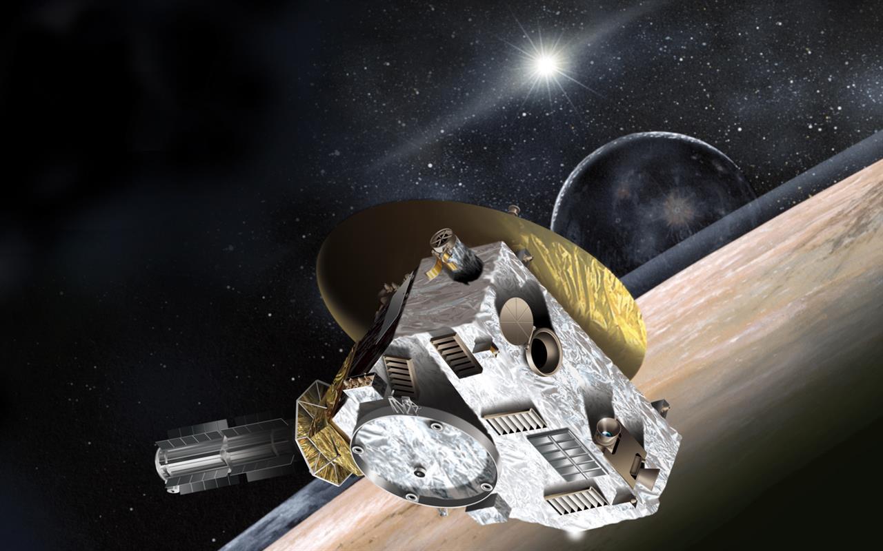 """تصویری هنری از رویاروی فضاپیمای افق های نو در سال 2015 با """"پلوتو"""" و قمرش """"شارون"""""""