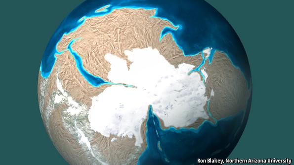 تصویری از شبیه سازی زمین در دورۀ کامبرین