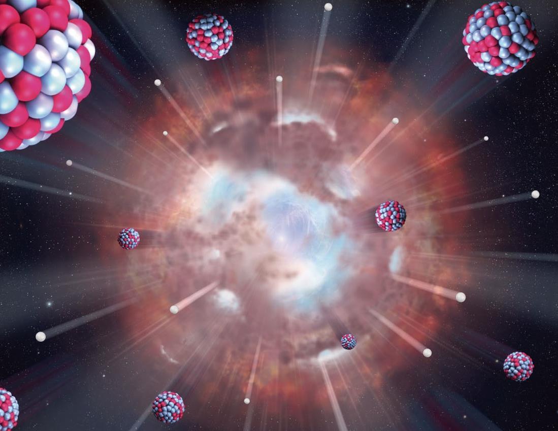 تصویری هنری از لحظۀ بیگ بنگ در لحظه تورم کیهان. در اولین یک تریلیون تریلیونیم ثانیه، نیروی ضد گرانش مرموزی، باعث گسترش و انبساط جهان شد.