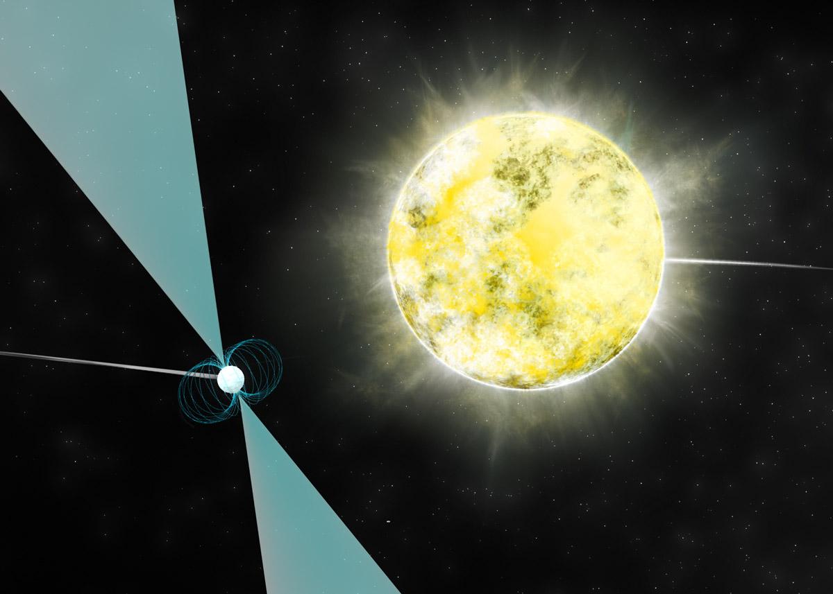 تصویری هنری از ستاره کوتوله سفیدPSR J2222-0137 که در مدارش یک تپ اختر نیز قرار دارد.