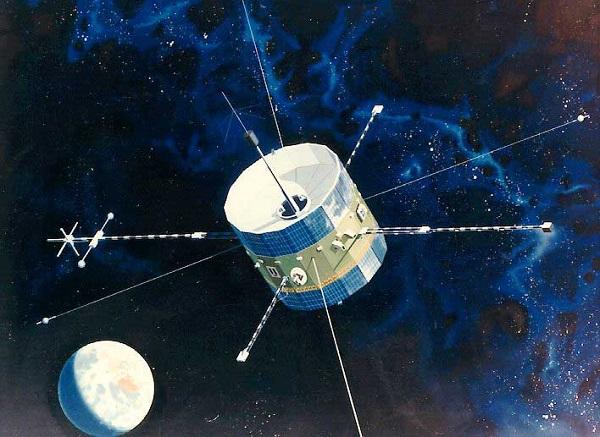 تصویر هنری از کاوشگر ISEE-3. ناسا اعلام کرد به کمک یک گروه آماتور، توانست مجددا فضاپیمای ISEE-3، را به زندگی باز گرداند.