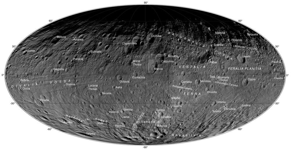 نقشه ی اطلس مانند سیارک وستا که از تصاویر منتشر شده توسط ماموریت فضاپیمای سپیده دم بدست آمده است.