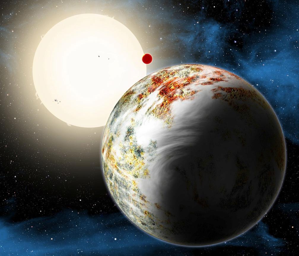 """تصویری هنری از سیاره ابر غول Kepler-10c ، معروف به""""مگا زمین""""اعتبار: دیوید ا. آگلیر"""