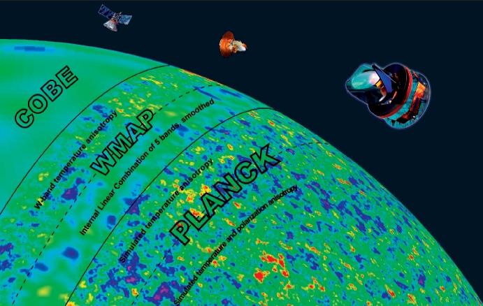 این تصویر که بر پایه ی داده های بدست آمده از ماهواره های کوبه، WMAP و پلانک تکمیل شده است، تابش پس زمینه کیهانی درست ۳۸۰ هزار سال پس از بیگ بنگ را  نشان می دهد.