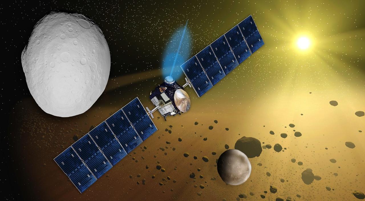 فضاپیمای سپیده دم در نمایی از کمربند سیارکی و سیارک وستا
