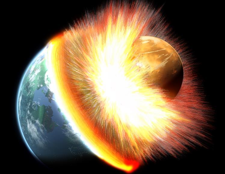 دانشمندان با آزمایش روی سنگهای ماه از وجود آرایش اتمی متفاوت در آنها خبر دادند و معتقدند ماه در اثر برخورد جرمی به اندازۀ مریخ به زمین در 4.5 میلیارد سال پیش شگل گرفته است.