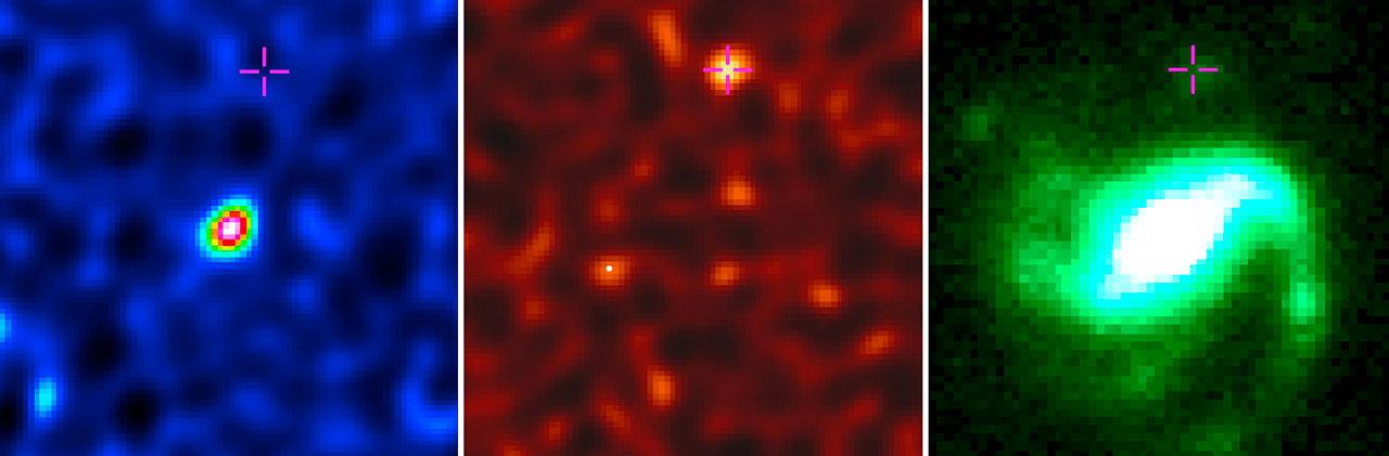 مشاهدات انفجار پرتو گاما در کهکشان میزبان GRB 020819B. اندازه گیری رادیویی از گاز مولکولی (سمت چپ)، مشاهده گرد و غبار (تصویر وسط)، که توسط تلسکوپ آلما ثبت شده است. تصویر همین انفجار در نور مرئی که توسط تلسکوپ جمینی گرفته شده است. (سمت راست)