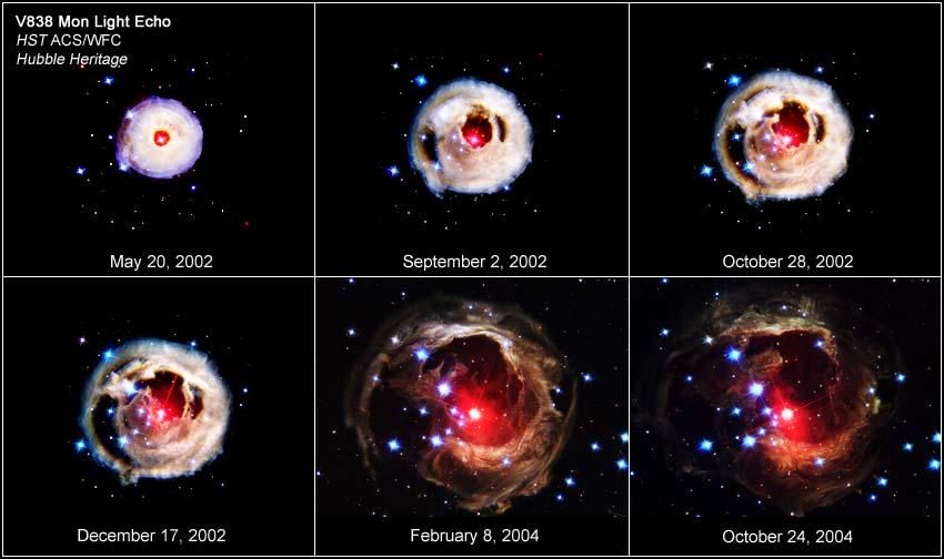 این تصاویر سیر تکاملی انفجاری عظیم را در ستاره سرخ V838 نمایش میدهند.