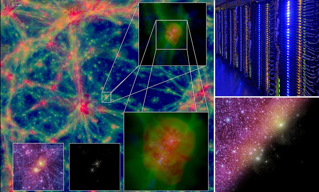 محققان دانشگاه دورهام با استفاده از ابر کامپیوتری با 6720 پردازنده ی هسته ای و 53760 گیگابایت رم شبیه سازی جدید را انجام دادند که چگونگی توضیح کهکشان ها و ماده تاریک را در جهان اولیه نشان می دهد.