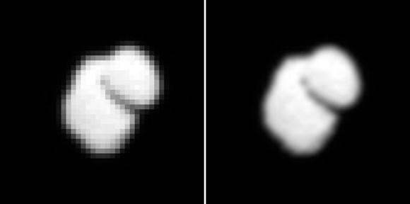 در تصویر سمت چپ،عکس خام نقطه نقطه ی دنباله دار و در تصویر سمت راست، عکسی که بهینه سازی شده را مشاهده می کنید.