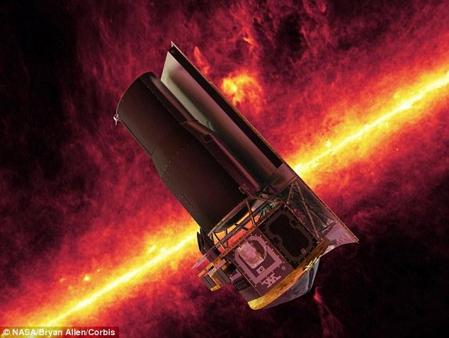 تصویری هنری از تلسکوپ فضایی اسپیتزر که با داده های خود به این تحقیقات کمک کرد.