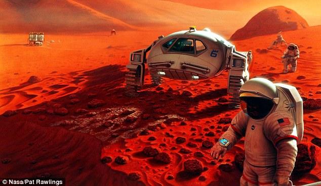 تصویری هنری از فعالیت فضانوردان در مریخ: اعتبار: ناسا