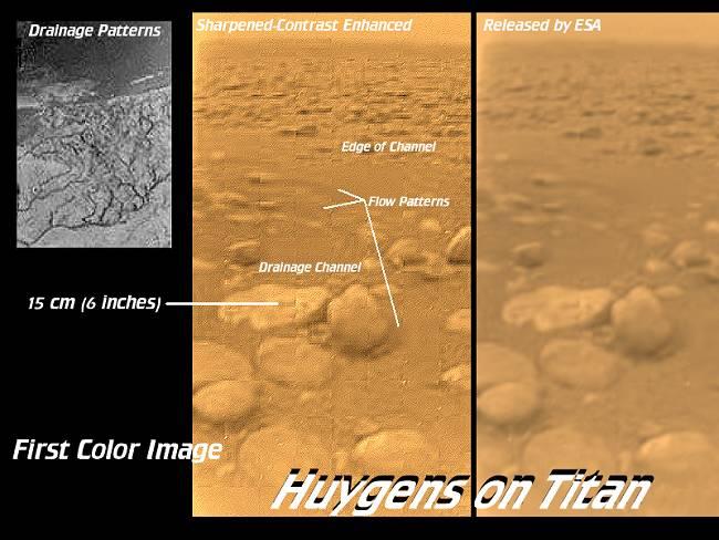 فضاپیمای هویگنس در ۱۴ ژانویه ۲۰۰۵ با فرود در تیتان قمر زحل، توانست تصاویری واقعی از سطح این قمر را در نور مرئی مشاهده کند.