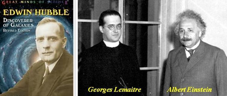 از راست به چپ: آلبرت اینشتین، جرج لوميتر، ادوین هابل
