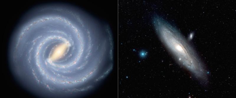 دانشمندان با یک محاسبه جدید دریافتند که جرم کهکشان راه شیری (تصویری هنری سمت چپ) نیمی از کهکشان آندرومدا میباشد (تصویر سمت راست).