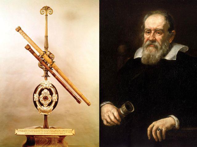تصویری از تلسکوپ شکستی طراحی شده توسط گالیله