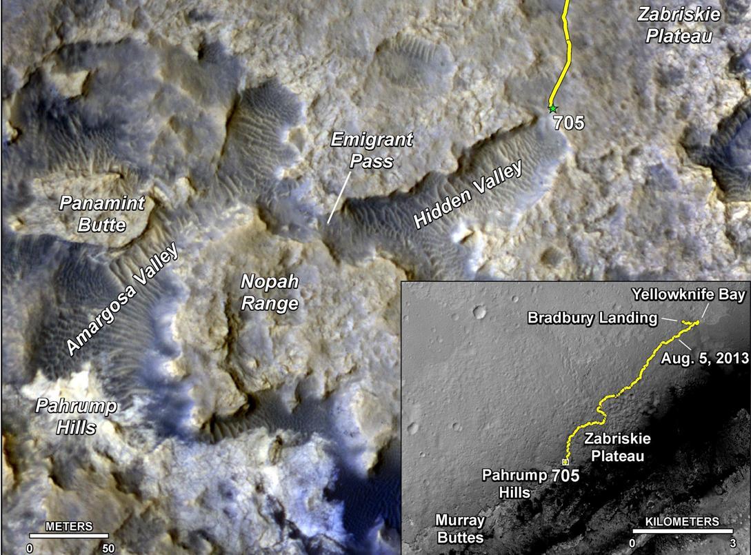 مسیر حرکت کنجکاوی از محل فرودش تا پای کوه شارپ که در طول 2 سال کاوش مریخ، طی کرده است.