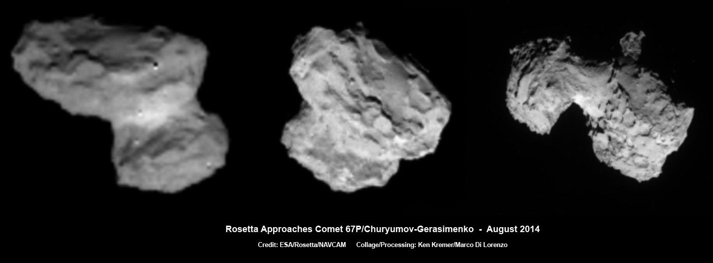 این تصاویر از دنباله دار چوریومف را فضاپیمای روزتا در تاریخ 1، 2 و 3 آگوست 2014 گرفته است. فاصله دنباله دار تا روزتا از چپ به راست به ترتیب 1026 کیلومتر، 500 کیلومتر و 300 کیلومتر میباشد.