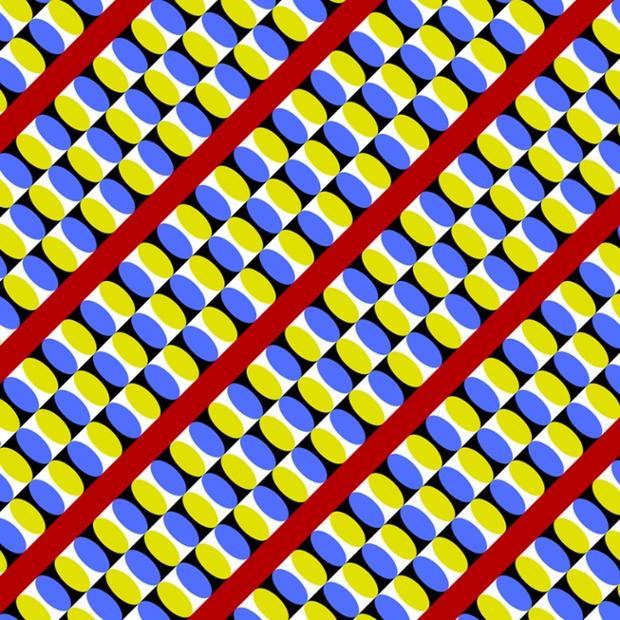 در این تصویر به نظر می رسد نقاط زرد و آبی در تصویر در حال چشمک زدن می باشند.