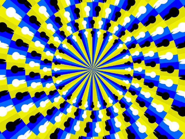 در این تصویر به نظر می رسد دایره درونی را در جهت عقربه های ساعت در حال چرخش میباشد اما دایره بیرونی در خلاف جهت دایره درونی می چرخد.