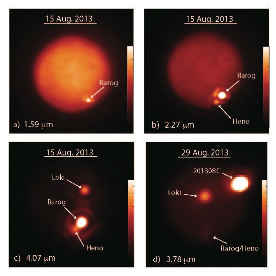 """تصاویر قمر مشتری """"آیو"""" که در طول موج های مختلف مادون قرمز توسط تلسکوپ های کک و جمینی به ثبت رسیده است. این تصاویر از 15 آگوست 2013 تا 29 آگوست 2013 گرفته شده است."""