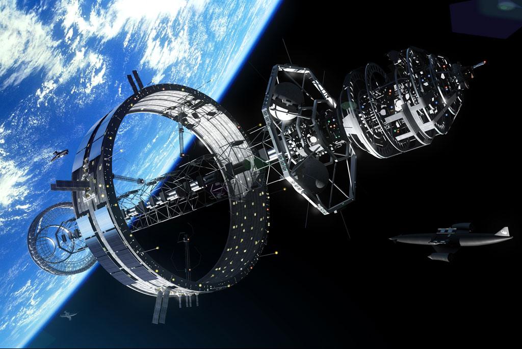 تصویری هنری از یک فضاپیمای غول پیکر آینده که تمامی امکانات را برای سفرهای طولانی مدت انسان دارا می باشد.