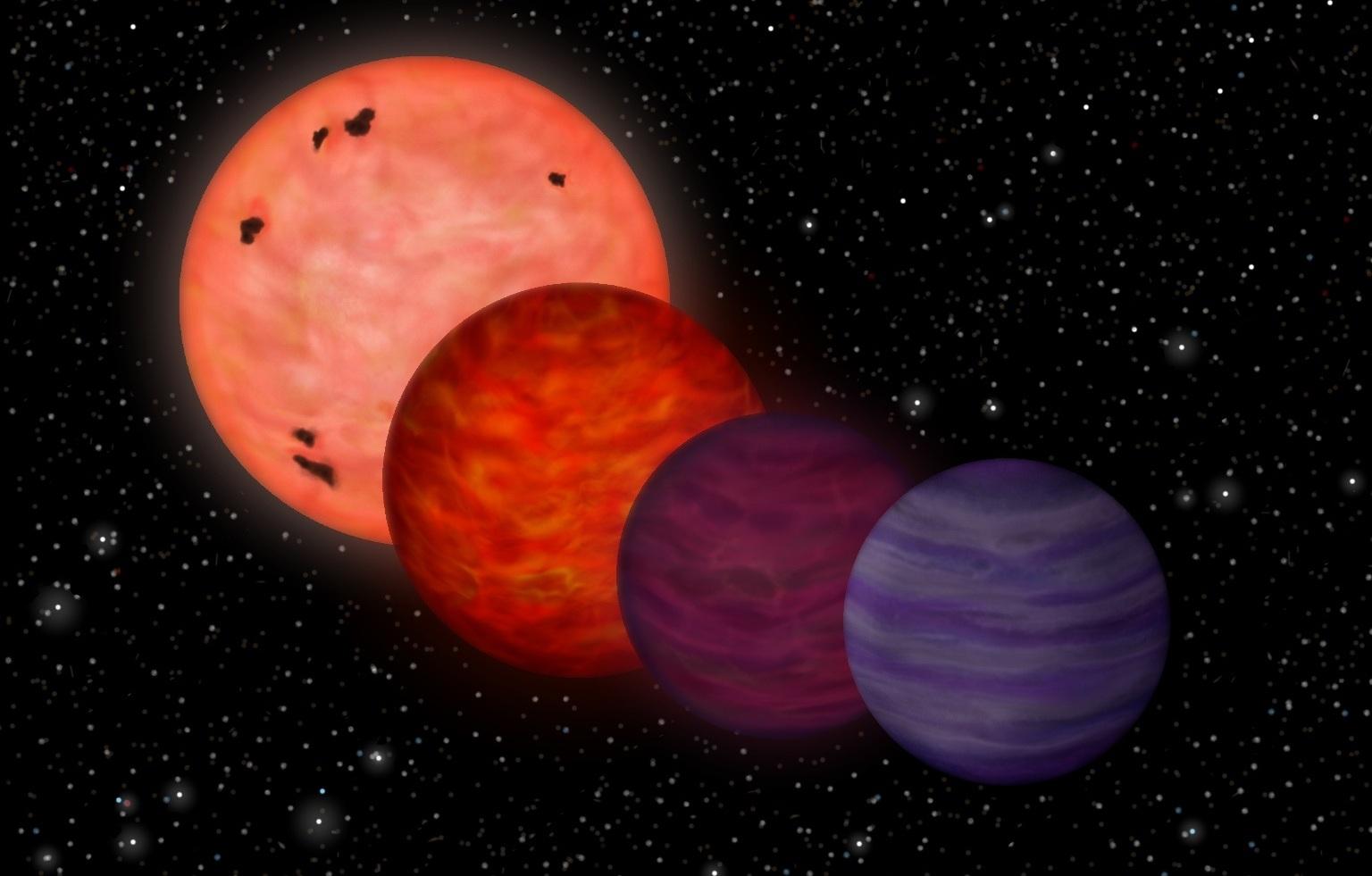 تصویری هنری از چگونگی تکامل این کوتوله قهوه ای، از ستاره با دمایی داغ تا تبدیل شدن به سیاره ای به دمایی پایین.