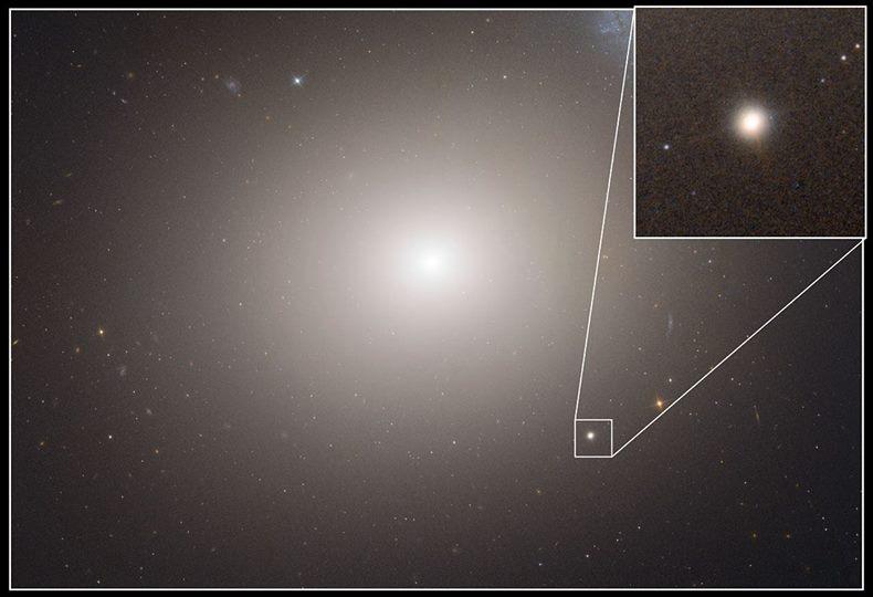 تصویری از کهکشان مسیه 60 و کهکشان کوتوله M60-UCD1