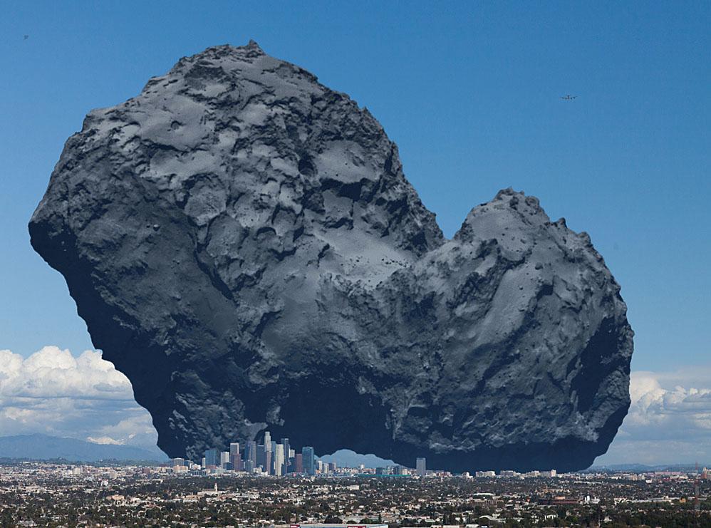 تصویر مقایسه ای دنباله دار روزتا را بر فراز شهر لس آنجلس