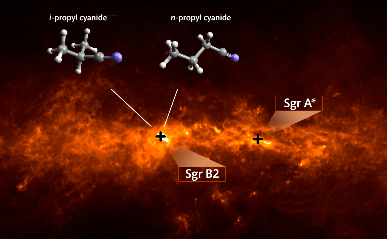 تصویری از منطقه صورت فلکی قوس B2 که مولکول های آلی در طیف رادیویی تلسکوپ آلما مشاهده شدند.