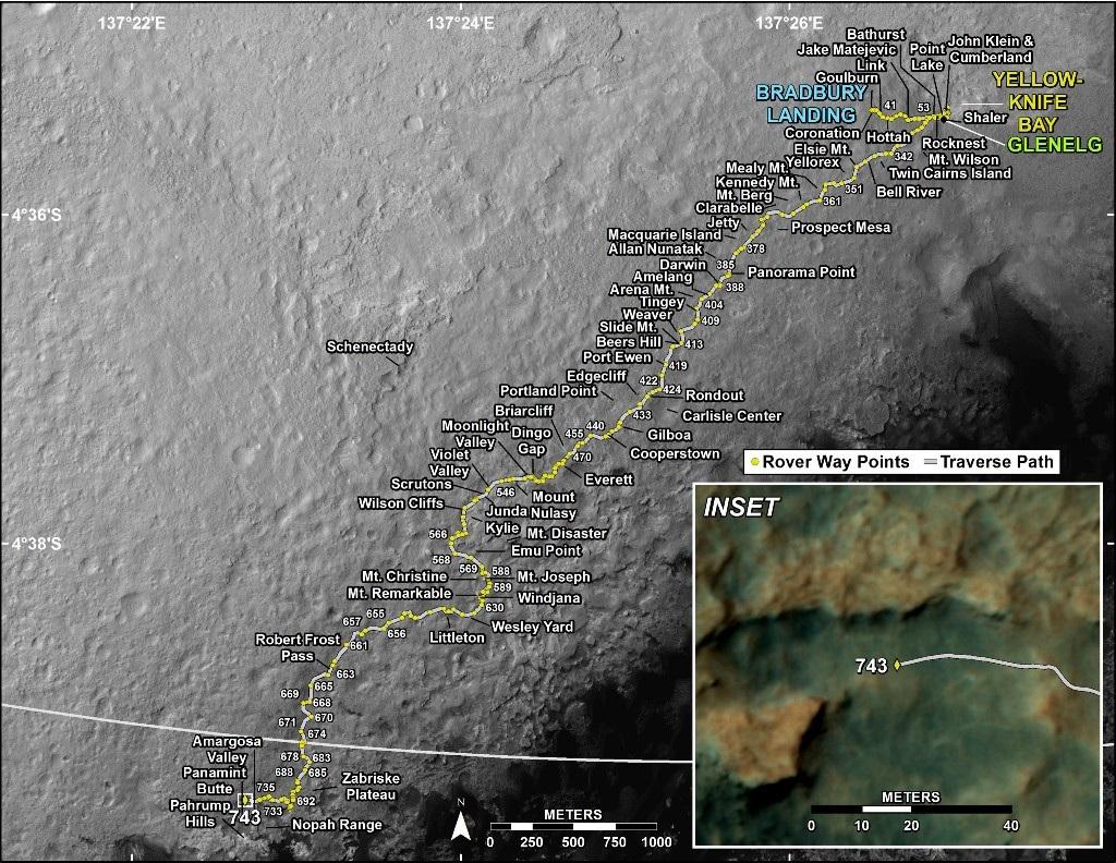 نقشه مسیر ِ طی شده ی مریخ نورد کنجکاوی تا روز 743 مریخی