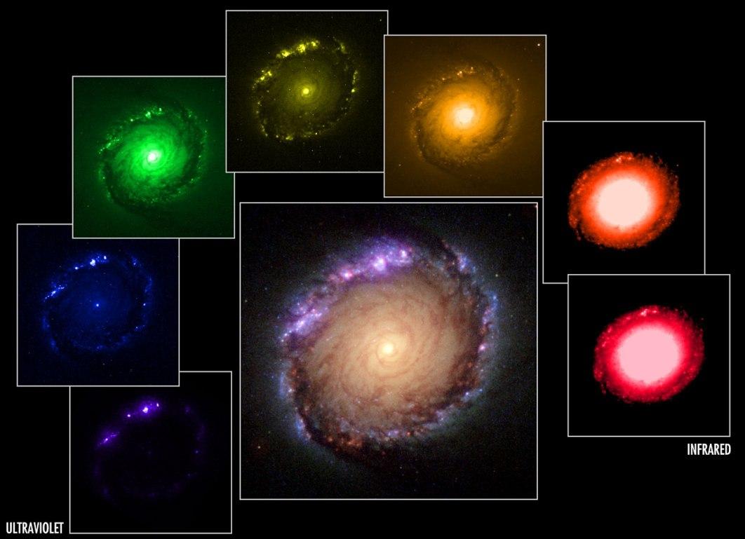 تصویری از کهکشان NGC 1512 که در هفت فیلتر رنگی باند پهن گرفته شده است.