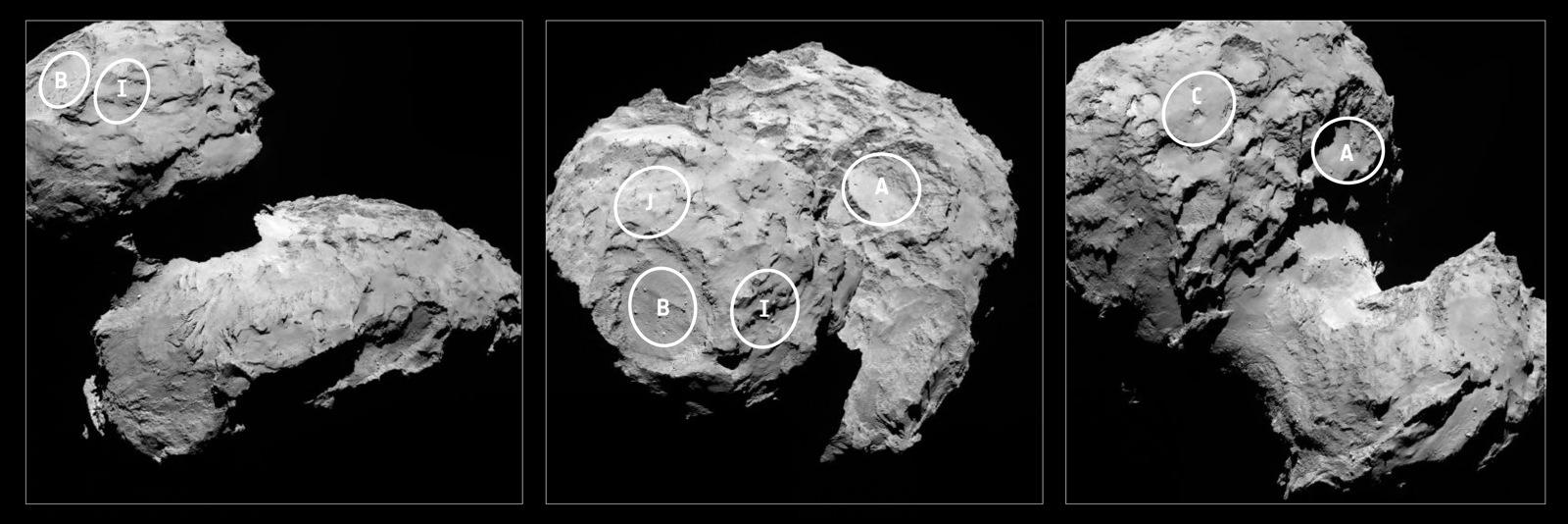 مقامات رسمیآژانس فضایی اروپا پس از بررسی تصاویر دقیق گرفته شده توسط روزتا از دنبالهدار از تاریخ 6 آگوست تاکنون، پنج نقطه را بهعنوان کاندیدای فرود کاوشگر فیلای انتخاب کرده اند.