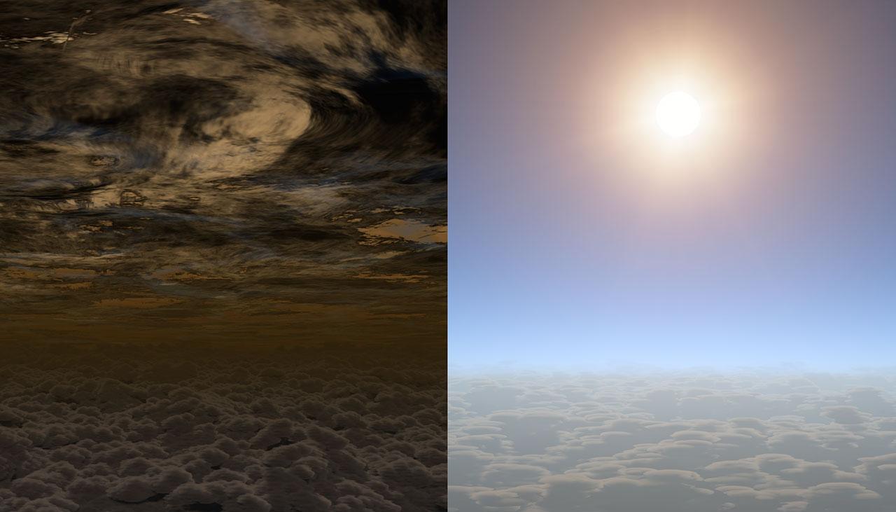 در این تصویر هنری آسمان سیارات بیگانه را مشاهده می کنید، در سمت چپ آسمان ابری و تیره یک سیاره را می بینید، در حالی که در سمت راست یک سیاره با آسمانی روشن را مشاهده می کنید که شباهت زیادی به سیاره HAT-P-11B دارد.