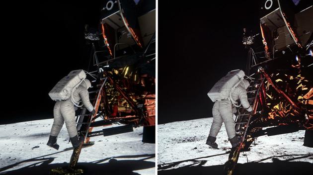 در این عکس، تصویر واقعی باز آلدرین هنگام پایین رفتن از نردبان (راست) و تصویر شبیهسازی شده آن (چپ) را مشاهده میکنید.